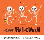 happy halloween with funny... | Shutterstock .eps vector #1481847917