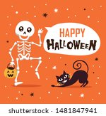 happy halloween with funny... | Shutterstock .eps vector #1481847941