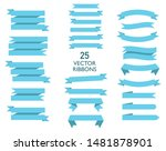 set of 25 flat ribbons or... | Shutterstock .eps vector #1481878901