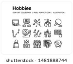 hobbies icons set. ui pixel...