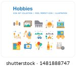 hobbies icons set. ui pixel...