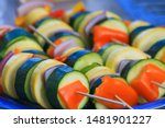 vegetable kabobs zucchini red...