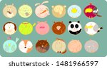 Stock vector collection of cute animals icons adorable happy face funny vector 1481966597