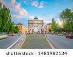 """Siegestor (Victory Gate) triumphal arch in Munich, Germany (Text on the gate mean """"The Bavarian are here"""")"""