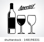 wine bottle and cup set... | Shutterstock .eps vector #148198331