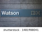 Small photo of IBM Watson sign near IBM Watson headquarters office building in SOMA - San Francisco, California, USA - Circa, 2019