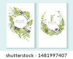 watercolor wreaths set with... | Shutterstock . vector #1481997407