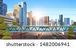 footbridge over highway asphalt ... | Shutterstock .eps vector #1482006941