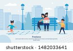 Flat Banner Advertising Freelance with Happy Family Spending Time in Park. Smiling Parents, Father and Mother Working via Laptop and Mobile Phone. Glad Kids Playing and Having Fun. Vector Illustration
