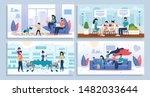 happy family daily home... | Shutterstock .eps vector #1482033644