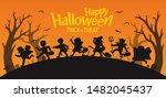 happy halloween. children... | Shutterstock .eps vector #1482045437