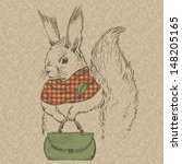 Fashion Squirrel In Scarf With...
