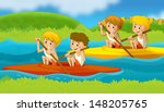 cartoon children swimming in... | Shutterstock . vector #148205765