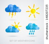 weather icons set in polygonal... | Shutterstock .eps vector #148207235