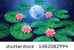 water with lotus flower and... | Shutterstock . vector #1482082994