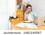 asian man think hard serious... | Shutterstock . vector #1482140987