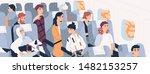 passengers inside airliner.... | Shutterstock .eps vector #1482153257