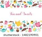 tea time poster concept. tea... | Shutterstock .eps vector #1482190901