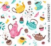 tea time seamless pattern. tea... | Shutterstock .eps vector #1482190907