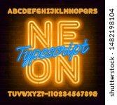 neon alphabet font. yellow neon ... | Shutterstock .eps vector #1482198104