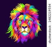 Colorful Lions  Modern Pop Art...