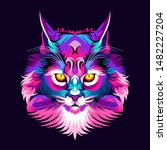 Colorful Cat Head  Modern Pop...