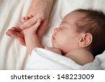 happy newborn   baby sleeping... | Shutterstock . vector #148223009