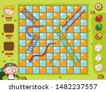 snakes and ladders game boy on... | Shutterstock .eps vector #1482237557
