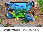 3d Wall Design Of Fish Out From ...