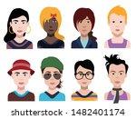 people avatars  vector women ... | Shutterstock .eps vector #1482401174