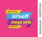 mega sale tag design vector... | Shutterstock .eps vector #1482421361