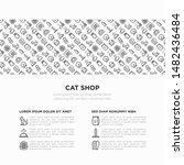 cat shop concept with thin line ... | Shutterstock .eps vector #1482436484