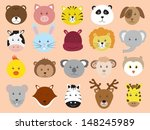cute animals faces icons vector ... | Shutterstock .eps vector #148245989