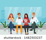 people using mobile phone for... | Shutterstock .eps vector #1482503237