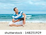 portrait of man using tablet... | Shutterstock . vector #148251929