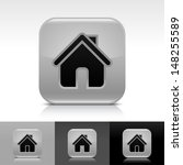house icon set. gray glossy web ...