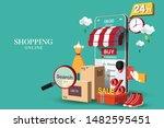 shopping online on website or... | Shutterstock .eps vector #1482595451