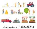 farmer work agriculture... | Shutterstock . vector #1482628514