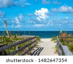 Walkway to beach in Stump Pass State Park on the Gulf of Mexico in Englewood  in Southwest Florida