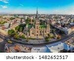 Aerial view of historical old city district of Lviv. Cathedral of Saints Olga and Elizabeth . Lviv, Ukraine. Church was built in memory of the popular Empress (Princes) Bavarian Elizabeth (Habsburg)