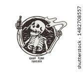skeleton holding a bottle of...   Shutterstock .eps vector #1482708557