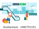 travelers at the airport....   Shutterstock .eps vector #1482751151