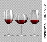 realistic red wine glasses... | Shutterstock .eps vector #1482779054
