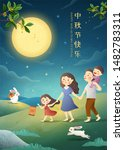 cute mid autumn festival poster ... | Shutterstock . vector #1482783311