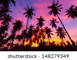 Stock photo coconut palm tree silhouette at koh samui thailand 148279349
