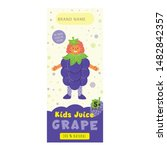 kids juice grape flat packaging ... | Shutterstock .eps vector #1482842357