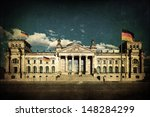 vintage style picture of the German Reichstag in Berlin - stock photo