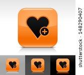 heart icon set. orange color...