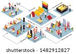 isometric flowchart with sewing ... | Shutterstock .eps vector #1482912827