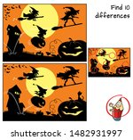 three witches on halloween... | Shutterstock .eps vector #1482931997